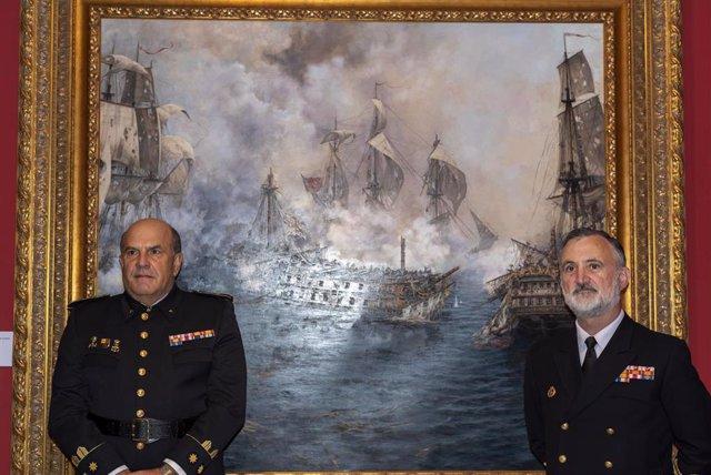 Presentación del cuadro de Augusto Ferrer-Dalmau 'El último combate del Glorioso' en el Museo Naval de San Fernando