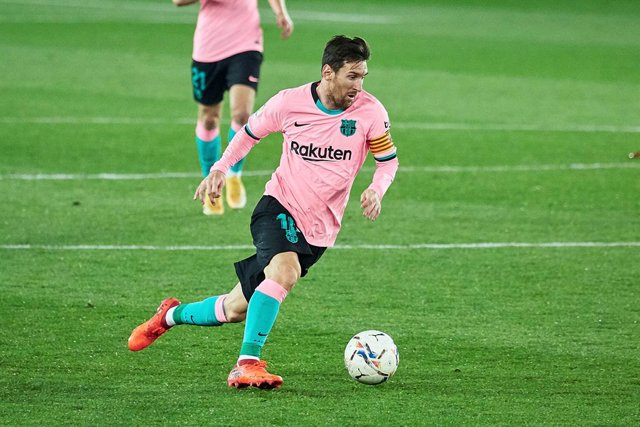 Lionel Messi of FC Barcelona during the spanish league, LaLiga, football match played between CD Alaves v FC Barcelona at Mendizorroza Stadium on October 31, 2020 in Vitoria, Spain.