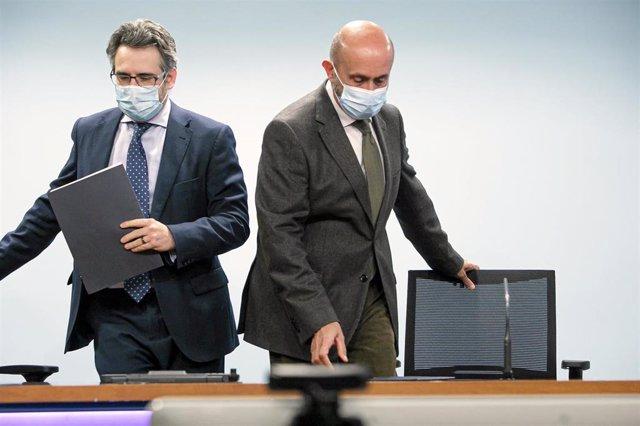 El ministre de Finances i Portaveu, Eric Jover, i el titular de Salut, Joan Martínez Benazet