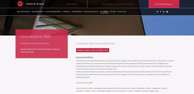 La Cambra de Terrassa pone a exposición pública su censo electoral de 2020