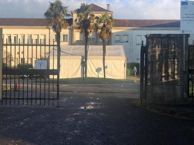 Zona de recogida de muestras 'covidauto' del Hospital Clínico de Santiago (CHUS) durante la pandemia de coronavirus.