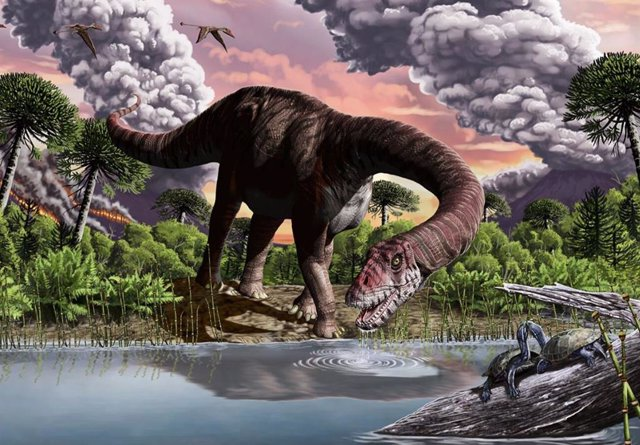 Reconstrucción del saurópodo temprano Bagualia alba.