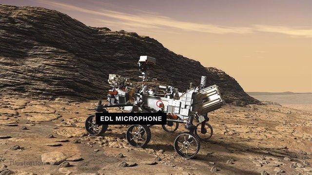 Ubicación del micrófono EDL en el rover Perseverance