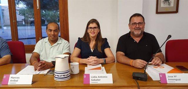 Los regidores de Cs en el Ayuntamiento de Marratxí, Marcos Aníbal, Lidia Antonia Sabater y Jose Maria Amengual.