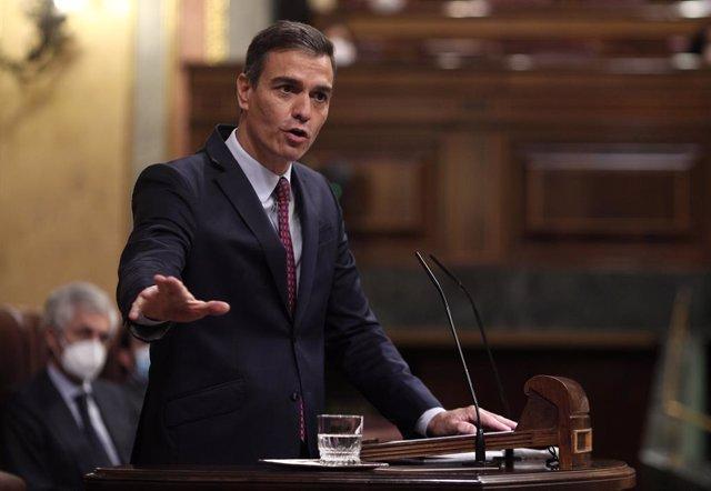 El president del Govern espanyol, Pedro Sánchez, al Congrés dels Diputats, el 22 d'octubre del 2020.