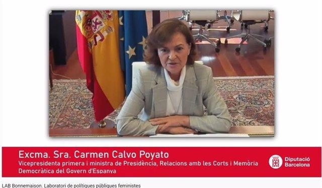 La ministra Carmen Calvo, en una conferencia por la inauguración del LAB Bonnemaison