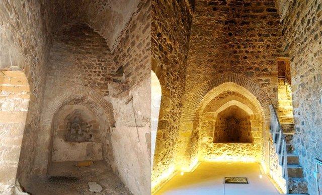 Antes y después de la restauración de la Torre del Homenaje.