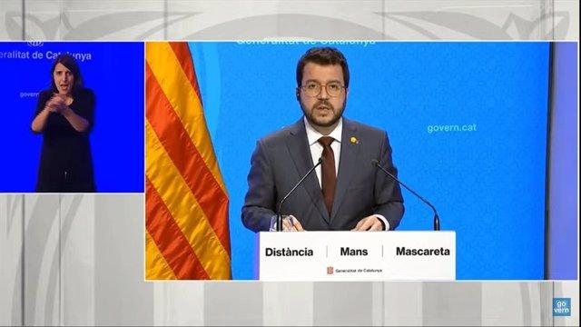 El vicepresident de la Generalitat, Pere Aragonès, en una roda de premsa telemàtica.