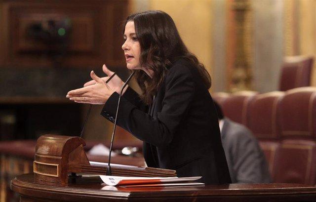 La presidenta de Ciudadanos, Inés Arrimadas, interviene en el Congreso de los Diputados