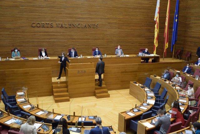El conseller Vicent Soler sube al estrado de Les Corts