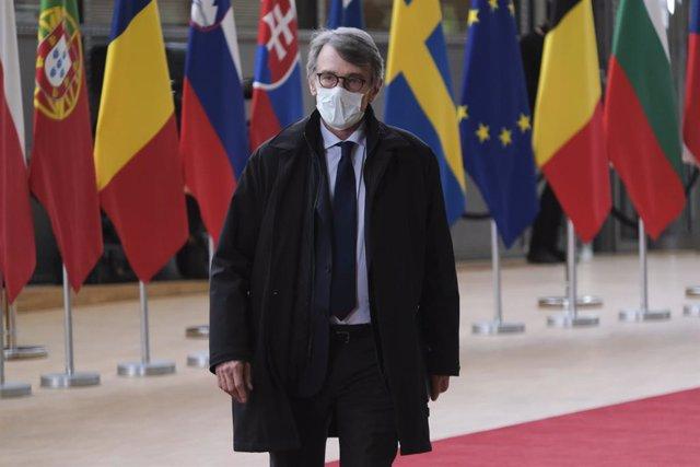David Sassoli a su llegada a una cumbre del Consejo Europeo en Bruselas