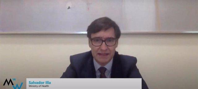 El ministro de Sanidad, Salvador Illa, en su intervención telemática en la MedaWeek de Barcelona
