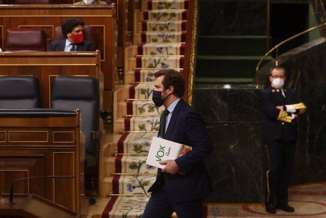 El portavoz de Vox en el Congreso, Iván Espinosa de los Monteros, durante la segunda parte del pleno de Debate de totalidad del Proyecto de Ley de Presupuestos Generales del Estado para el año 2021, en el Congreso de los Diputados, Madrid, (España), a 11