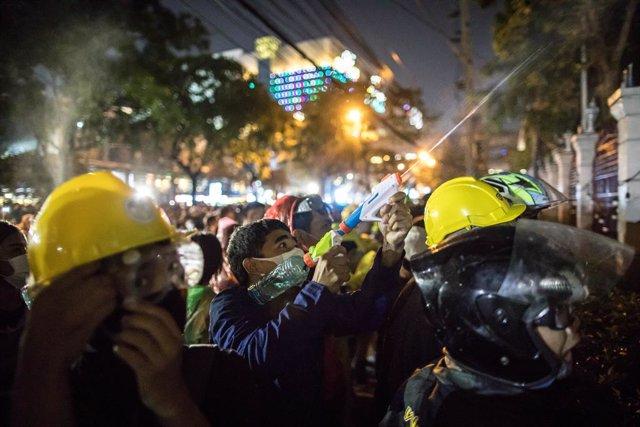 Manifestantes durante una protesta contra el Gobierno de Tailandia.