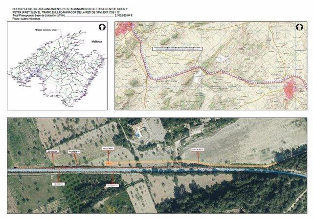 Proyecto del nuevo Puesto de Adelantamiento y Estacionamiento entre Sineu y Petra.
