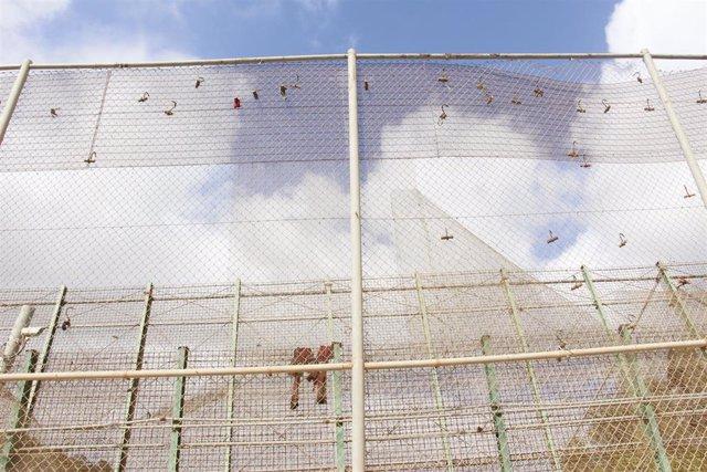 Imagen de la valla fronteriza de Melilla con Marruecos.