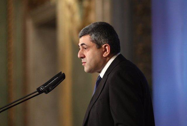 El nuevo secretario general de la Organización Mundial del Turismo (OMT), Zurab Pololikashvili, interviene en el Foro España Internacional