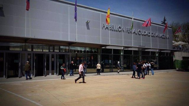 Pabellón de Aracena (Huelva) donde este viernes se realizarán los cribados de Covid-19 de la Junta de Andalucía.