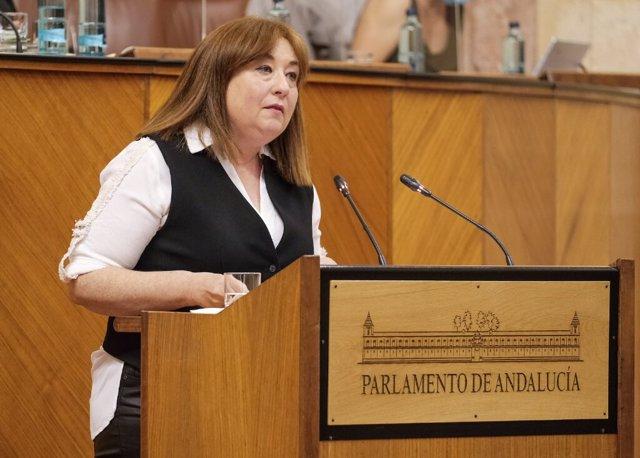 La parlamentaria del PSOE-A Soledad Pérez, en el Pleno del Parlamento.
