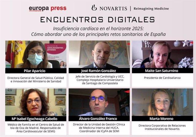 Encuentro digital 'Insuficiencia cardíaca en el horizonte 2025: cómo abordar uno de los principales retos sanitarios en España', organizado por Europa Press, en colaboración con Novartis.
