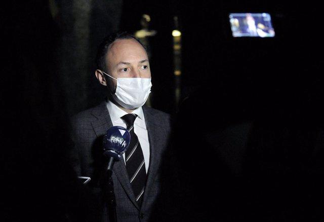 El cap de Govern d'Andorra, Xavier Espot, atén als mitjans de comunicació