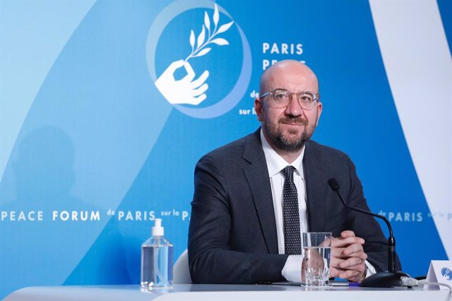 HANDOUT - 12 November 2020, France, Paris: European Council President Charles Michel attends the Paris Peace Forum at The Elysee Palace. Photo: Dario Pignatelli/EU Council/dpa - ATTENTION: editorial use only and only if the credit mentioned above is refer
