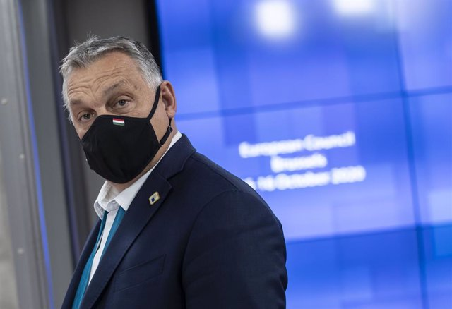 HANDOUT - 16 October 2020, Belgium, Brussels: Hungary's Viktor Orban arrives to attend a round table meeting on the second day of a two days European Council summit, focusing on post-Brexit trade deal negotiations. Photo: Zucchi-Enzo/European Council/dpa