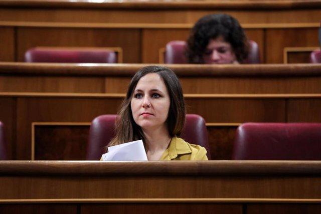La secretaria de Estado para la Agenda 2030 , Ione Belarra, en el hemicilo del Congreso de los Diputados, a 5 de enero de 2020.