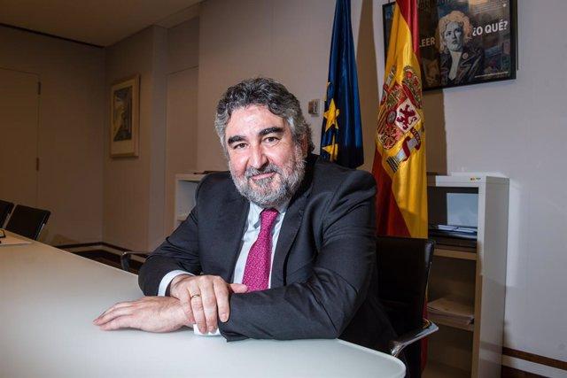 El ministre de Cultura i Esport, José Manuel Rodríguez Uribes, després d'una entrevista d'Europa Press. Madrid (Espanya), 4 d'agost del 2020.