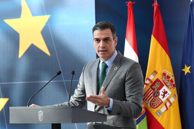 El presidente del Gobierno, Pedro Sánchez, interviene en el acto de presentación del Plan de Recuperación, Transformación y Resiliencia de la Economía Española, en Agoncillo, La Rioja, (España), a 20 de noviembre de 2020.