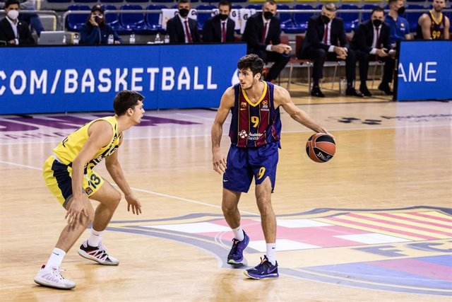 Leandro Bolmaro of Fc Barcelona during the Turkish Airlines EuroLeague match between  Fc Barcelona and Fenerbahce Beko Istambul at Palau Blaugrana on November 12, 2020 in Barcelona, Spain.