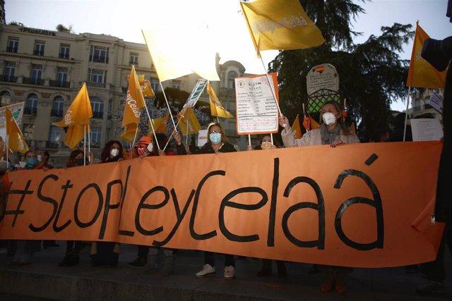 Convocados por la Plataforma Más Plurales, colectivos de la educación concertada se manifiestan contra la 'Ley Celaá' en el Congreso, el día de su aprobación, en Madrid (España), a 19 de noviembre de 2020.