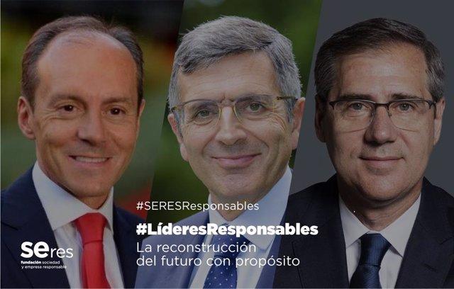 El consejero delegado de Ferrovial, Ignacio Madridejos y el consejero delegado de Santander España, Rami Aboukhair, en el último encuentro de #LíderesResponsables, impulsado por Fundación SERES.