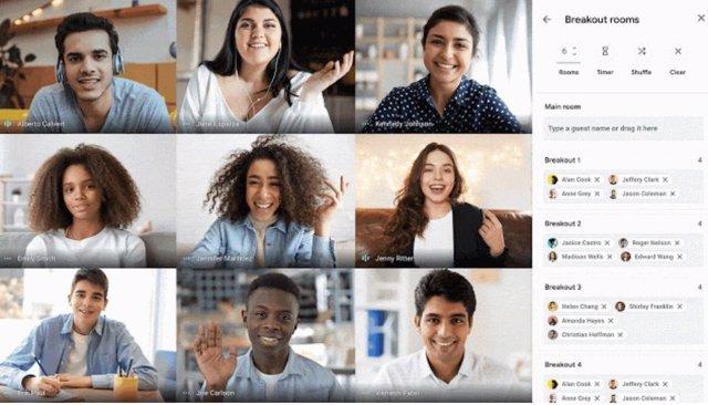 Google Meet permite crear hasta 100 salas de grupos de trabajo pequeños