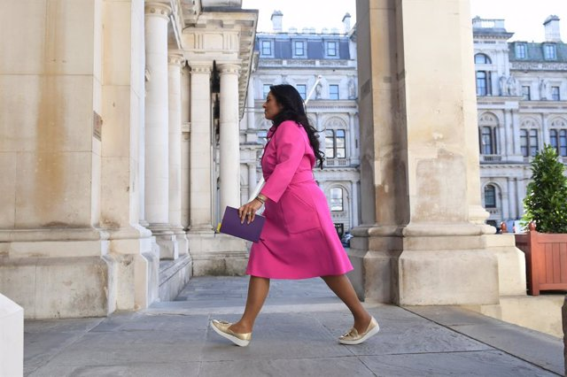 21 July 2020, England, London: UK Home Secretary Priti Patel arrives for a Cabinet meeting, for the first time since the Coronavirus lockdown. The cabinet meeting will be held at the Foreign and Commonwealth Office (FCO) in London. Photo: Stefan Rousseau/