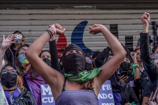 Protesta en contra de la violencia machista en Ciudad de México