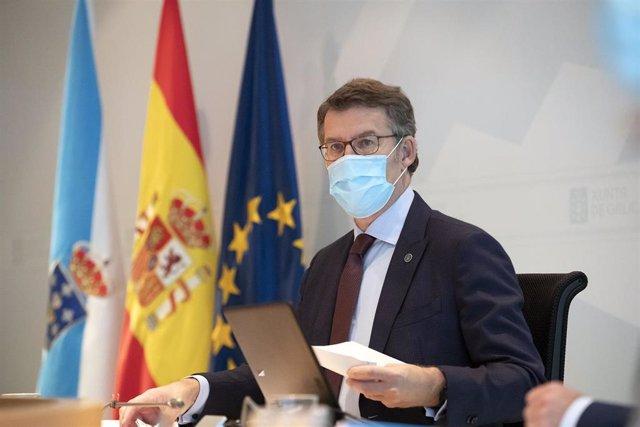 O presidente da Xunta, Alberto Núñez Feijóo, este venres en Consello