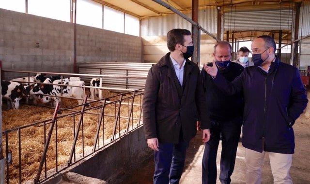 Líder del PP, Pablo Casado, i el president del PP català, Alejandro Fernández, en la visita a Alcarrás (Lleida) aquest divendres 20 de novembre del 2020.