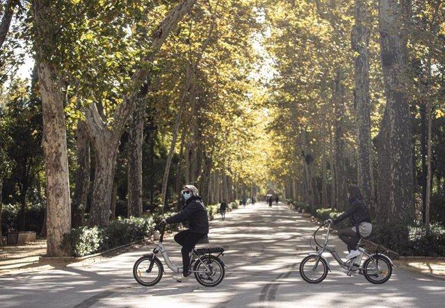Varios transeúntesen bicicleta por el Parque de Maria Luisa