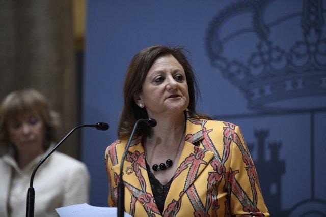 La nueva secretaria de Estado de Asuntos Exteriores y para Iberoamérica y el Caribe, Cristina Gallach, en el Patio Elcano del Palacio de Santa Cruz, en Madrid (España) a 7 de febrero de 2020.