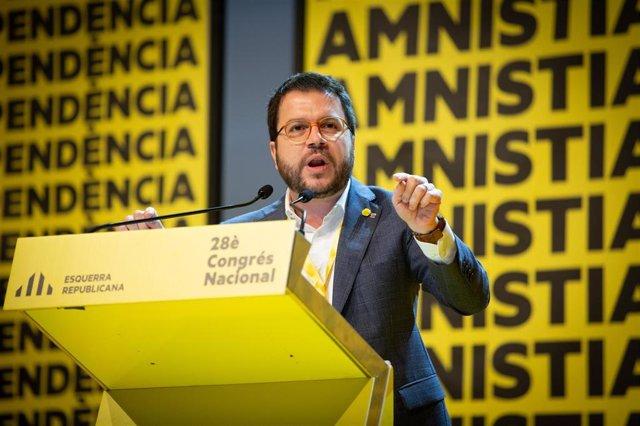 El vicepresident del Govern, Pere Aragonès, intervé en el 28 Congrés Nacional d'ERC, a Barcelona a 21 de desembre de 2019