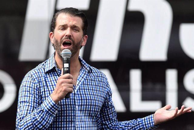 11 October 2020, US, Orlando: Donald Trump Jr, the eldest son of US President Donald Trump speaks to supporters at a Fighters Against Socialism campaign rally in support of his father, US President Donald Trump. Photo: Paul Hennessy/SOPA Images via ZUMA W