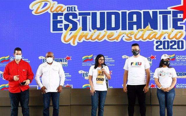 La vicepresidenta de Venezuela, Delcy Rodríguez, en un acto.