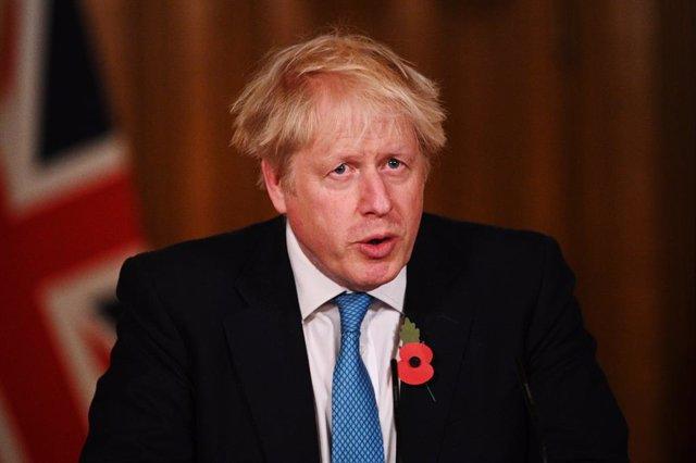 05 November 2020, England, London: UK Prime Minister Boris Johnson speaks during a media briefing on coronavirus at 10 Downing Street. Photo: Leon Neal/PA Wire/dpa