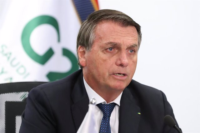 HANDOUT - 21 November 2020, Brazil, Brasilia: Brazilian President Jair Bolsonaro speaks during the G20 online summit, chaired by Saudi King Salman bin Abdulaziz Al Saud from Riyadh. Photo: Marcos Corrêa/Palácio do Planalto/dpa - ATTENTION: editorial use o