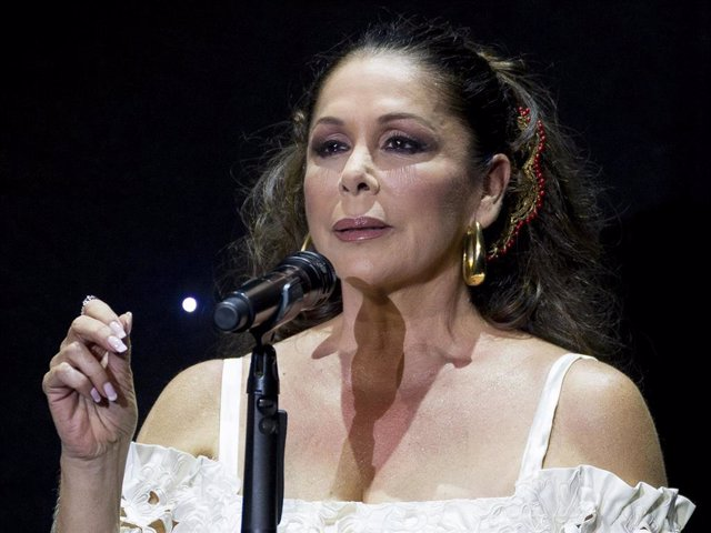 Isabel Pantoja performs during the launching of her new album 'Hasta Que Se Apague El Sol', composed by the mexican song writer Juan Gabriel, who died last August, at Teatro Real carlos III.