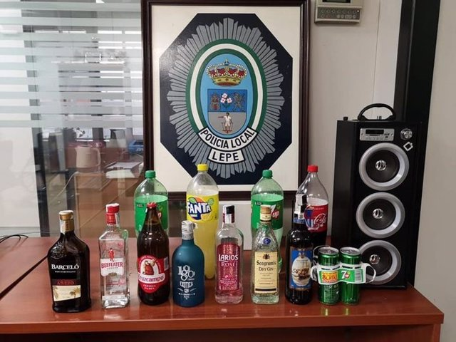 Alcohol intervenido en Lepe