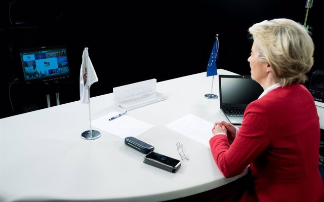 HANDOUT - 21 November 2020, Belgium, Brussels: European Commission President Ursula von der Leyen attends the virtual G20 summit which is hosted by Saudi Arabia. Photo: Etienne Ansotte/European Commission/dpa - ATTENTION: editorial use only and only if th