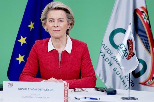La presidenta de la Comissió Europea, Ursula von der Leyen, assisteix de manera virtual a la cimera del G20