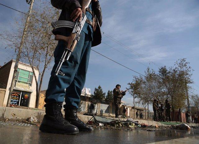 Miembros de las fuerzas de seguridad de Afganistán.